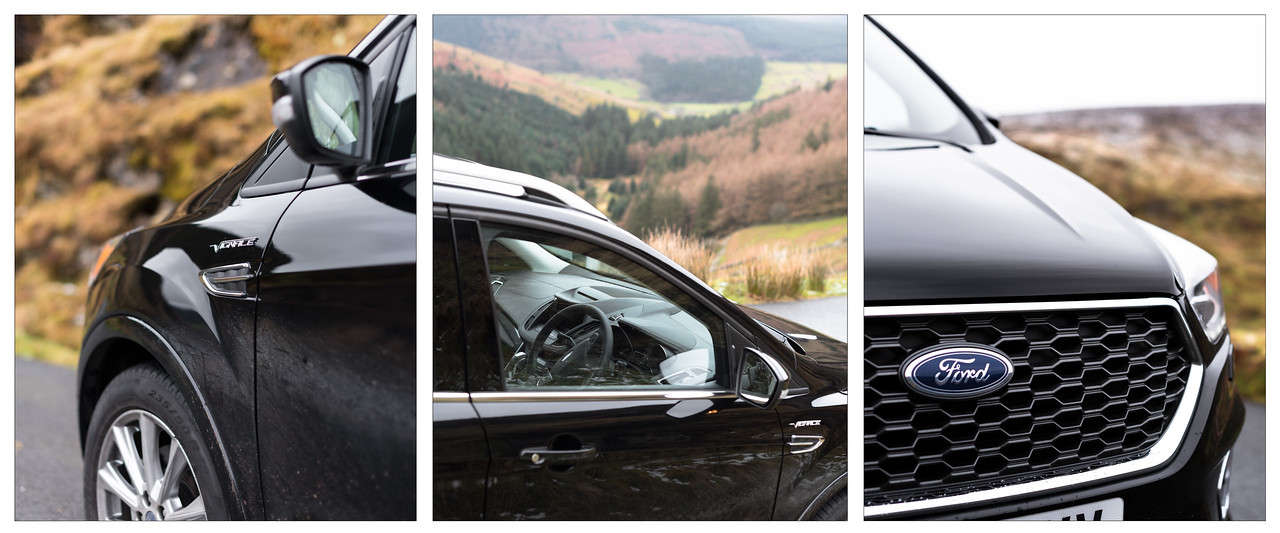A trypitch of detail shots of the Ford Kuga Vignale.