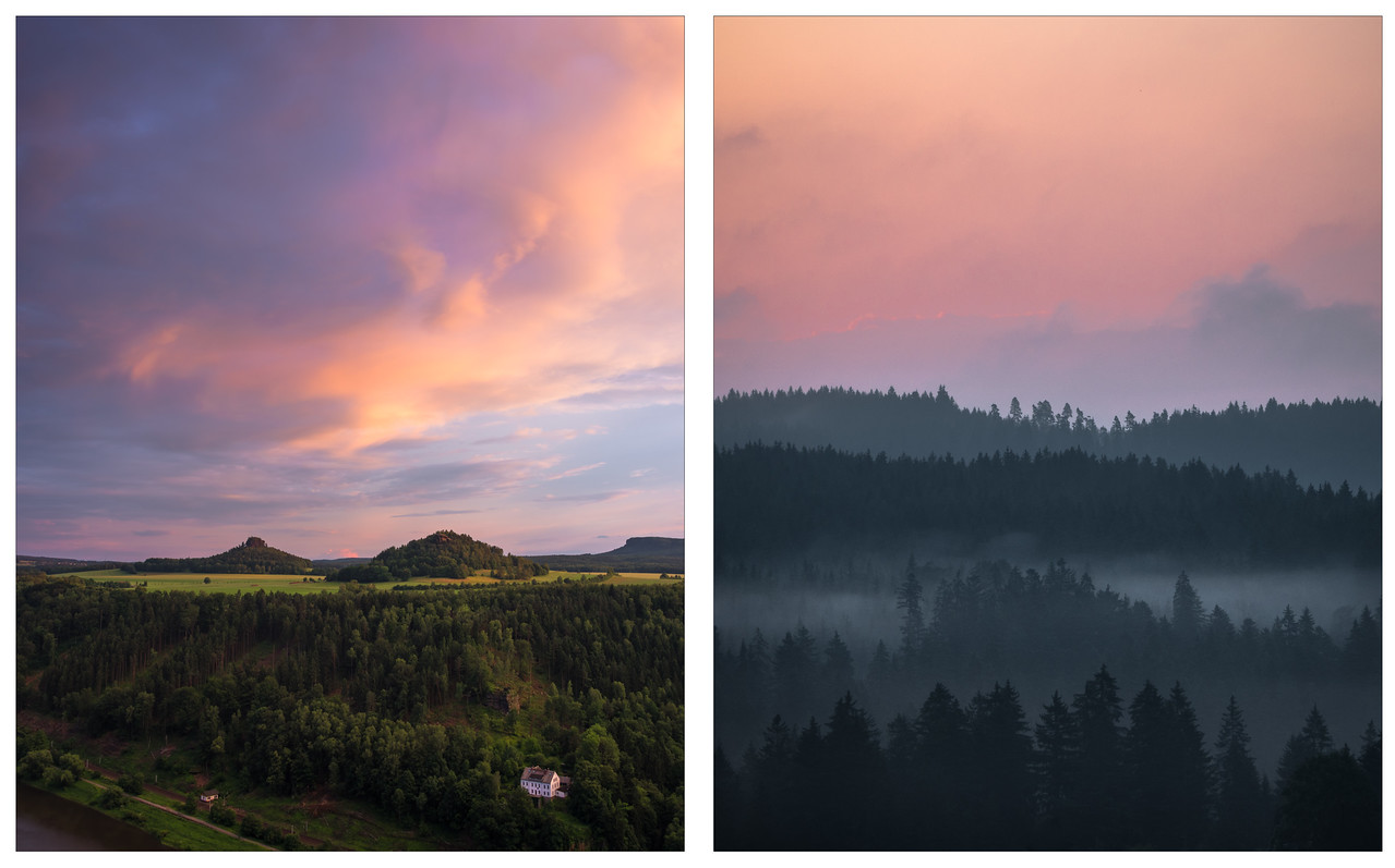 A diptych of photos of sunset and sunrise in the German countryside.