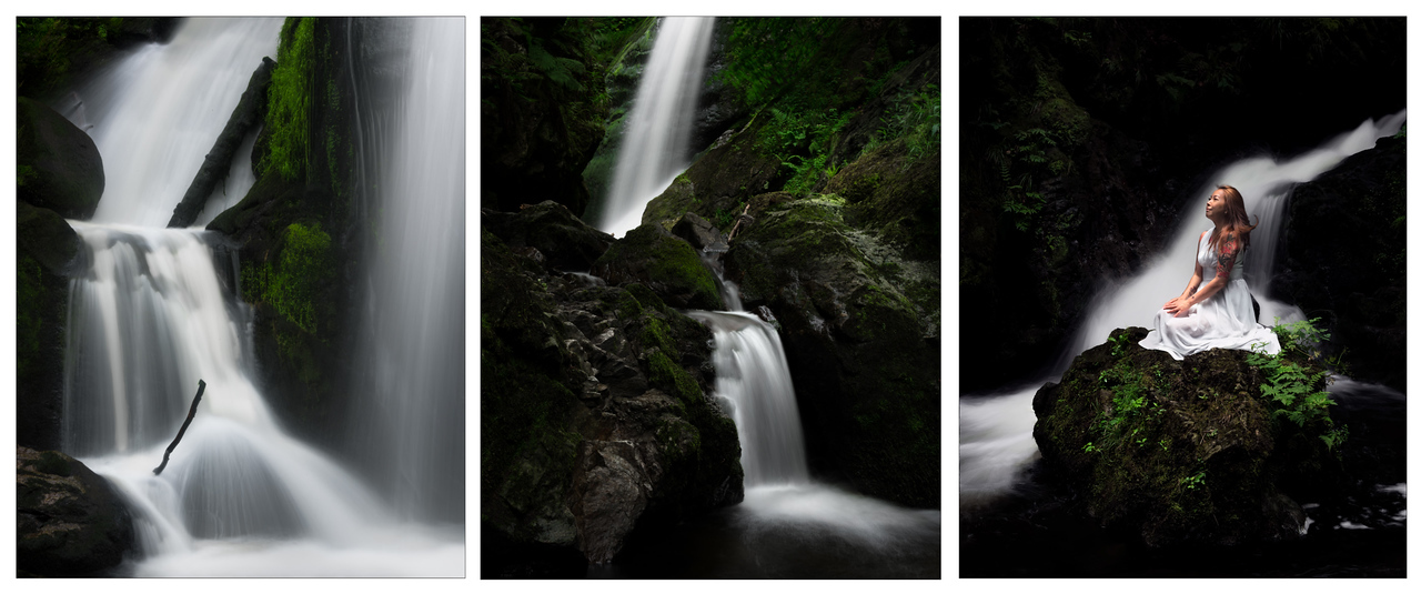 A triptych of waterfalls in Germany, including my awesome model, Sandra Mode.