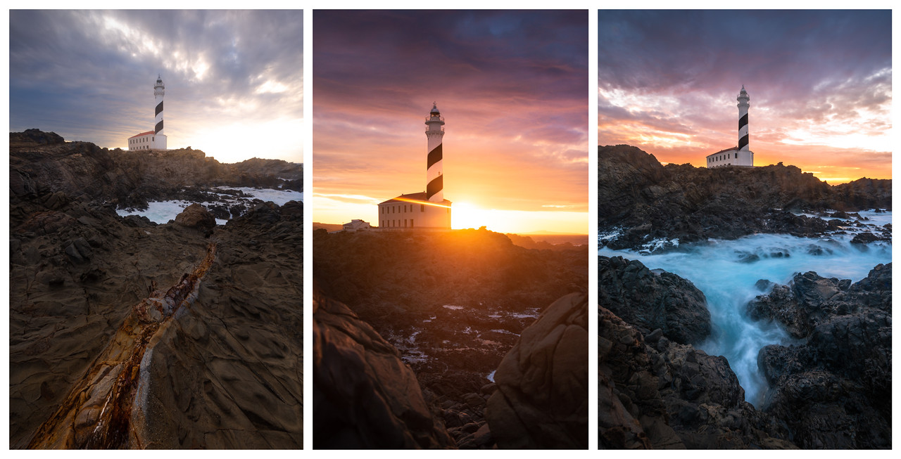 Tryptich of a lighthouse at various stages of sunset