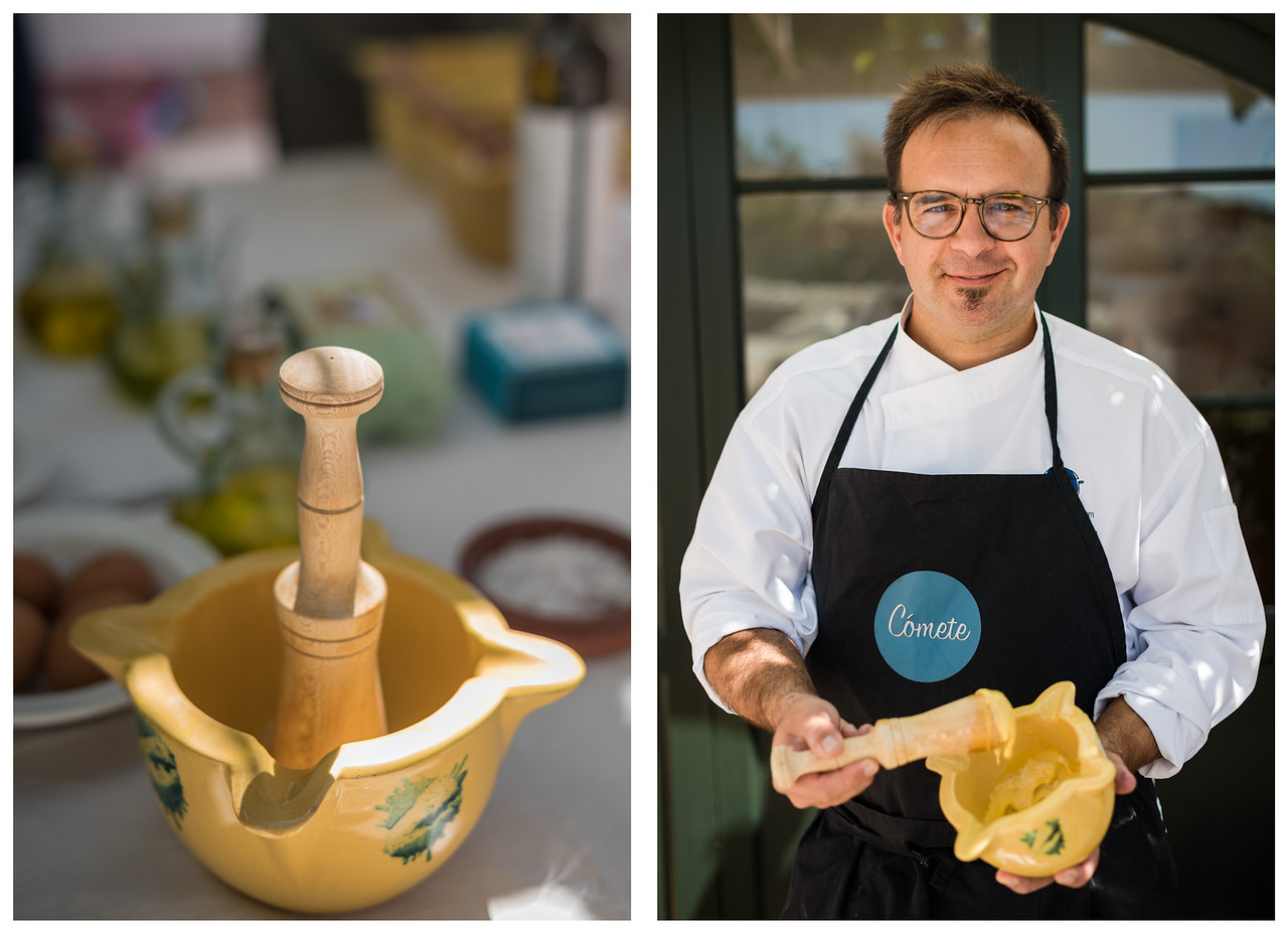 Diptich of a mortar and pestle, and a chef