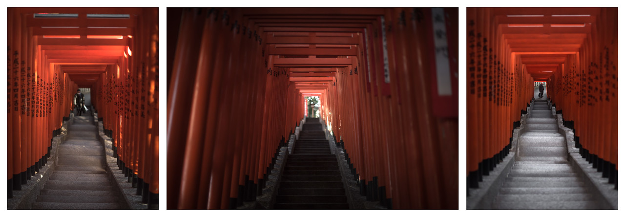 A triptych of the torii gates at the Hie Shrine in central Tokyo, Japan.