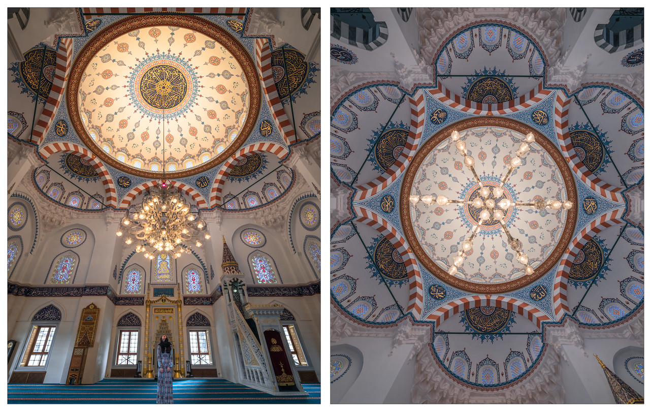 A diptych of the amazing architecture inside of the Camii Mosque in Tokyo, Japan.
