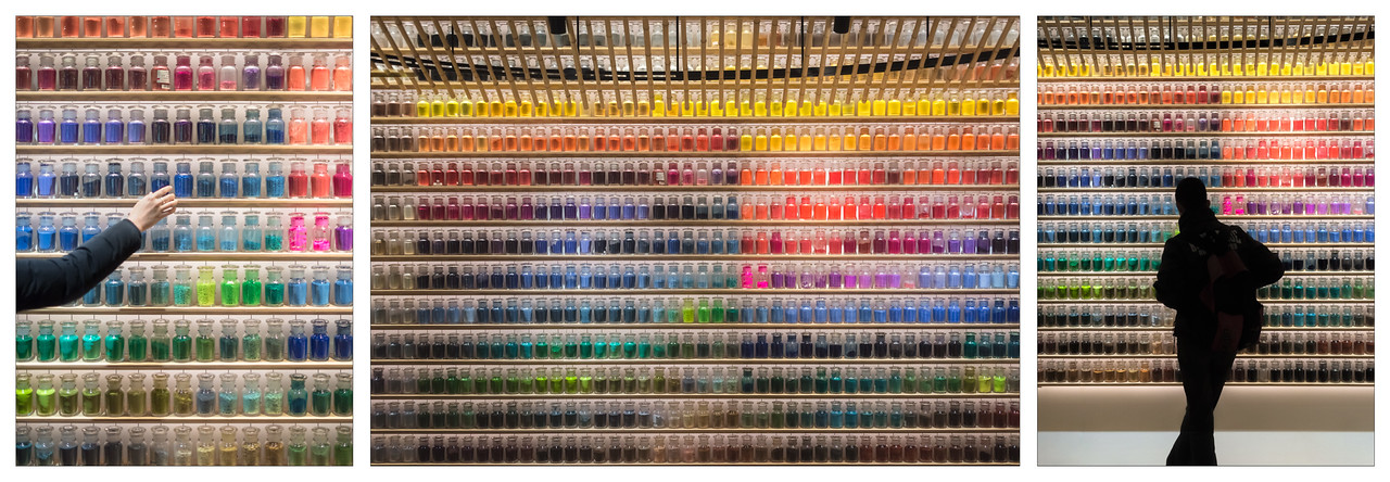 A triptych of photos of colourful jars in the art store, Pigment, in Tokyo, Japan.