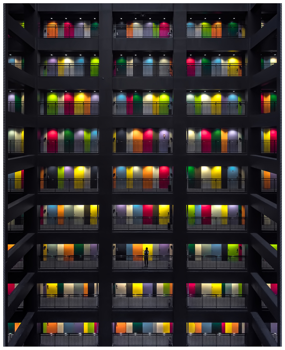 The colourful doors of the SOHO office block in Tokyo, Japan.