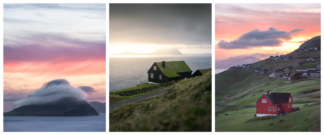 Tryptich of Faroese Houses at sunset.