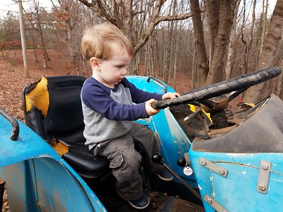 Eivin in charge of driving the tractor