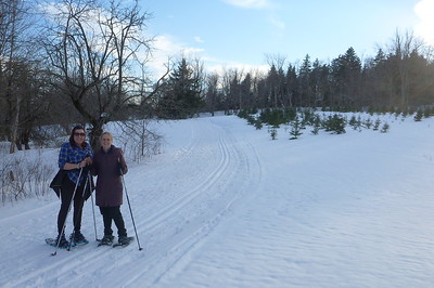 Snowshoeing near sunset at Notchview