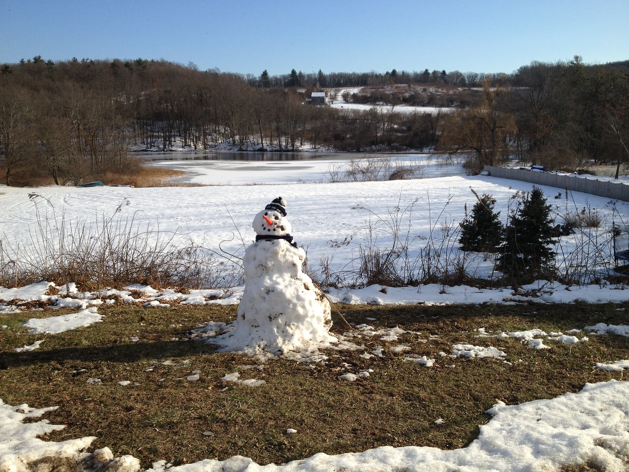 Snowman with Lake Warner