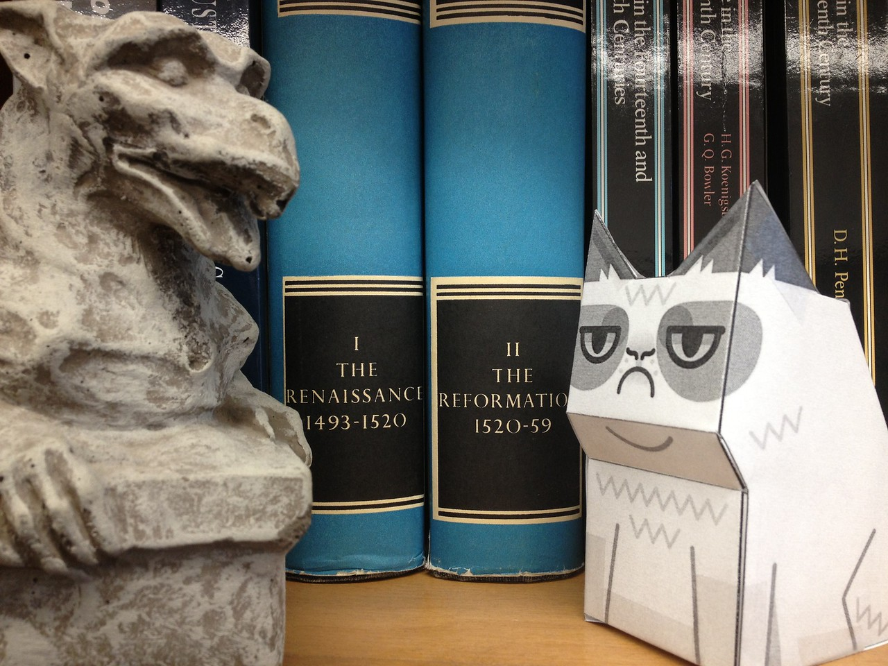 Grumpy Cat and gargoyle are unimpressed by the Renaissance and Reformation