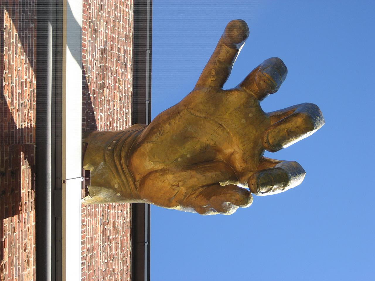 Hand from below