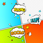 High detail vector mock-up of comic book page and speech bubbles