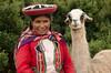 woman with llama, Cusco, Peru