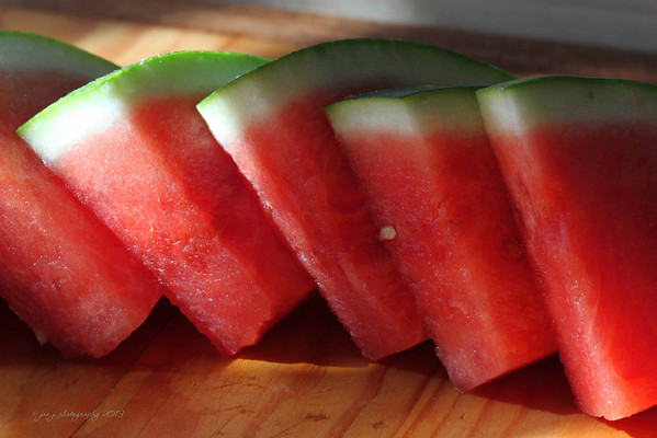 February 23 - W is for Wedges of Watermelon.  Ah ha - I can prep dinner and do my photo-a-day at the same time!