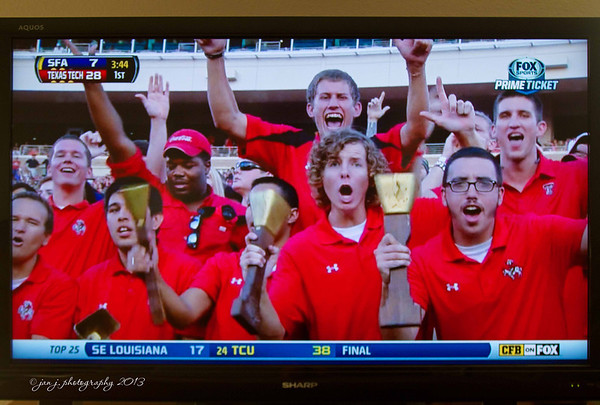 September 7 - Well...College football is back and there's my boy on TV.  Which one is my son??  He's the one with the mop.