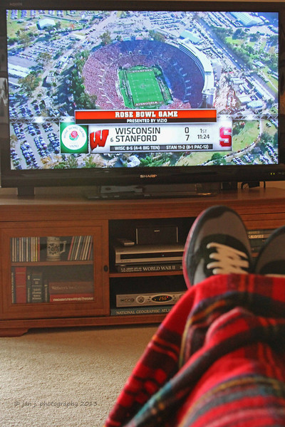 January 1 - Settled in to watch the Rose Bowl.  Keeping an eye out for my son David who is in the stands cheering on Stanford along with his friend Michael...a Stanford student.