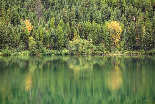September 9 - Sometimes it's hard to tell where the trees end and the reflection begins...   Middle Thompson Lake Libby, MT