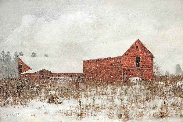 February 10 - Red barn in snow...<br /> <br /> Hayden, ID