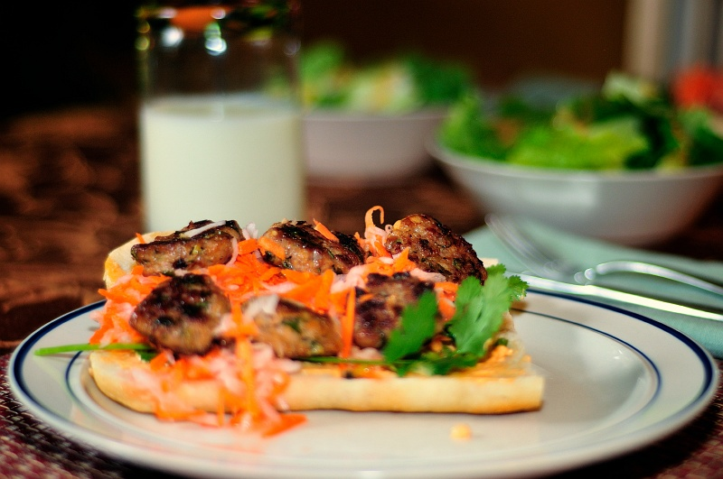 8 Feb 2010: My first attempt at shooting dinner. I'll try this a few more times, definitely with more depth of field next time. This is a Vietnamese meatball sandwich -- very good.  Copyright (C) 2010 Doug Wieringa