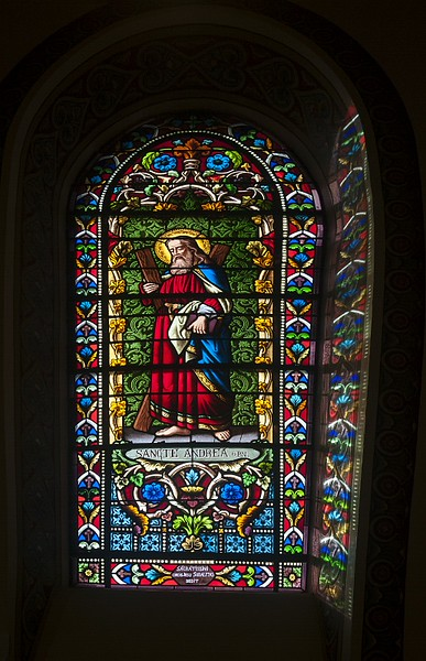 2 Dec 2014: Stained glass in the Cathedral Basilica of St. Francis of Assisi in Santa Fe