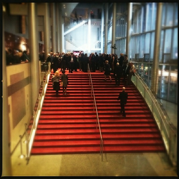 14 Jan 2015: McCaw Hall. This is kind of a tilt-shift effect; the people don't look real.
