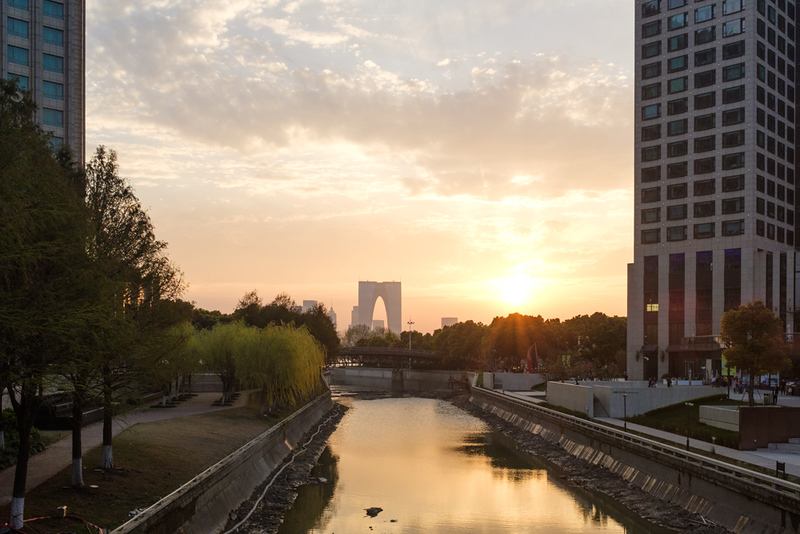 24 Apr, Sunset, downtown Suzhou, China