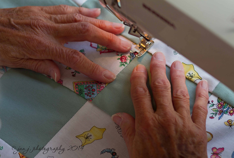 June 10 - My Mother's hands doing what they do best.  At 87 she still sews everyday.