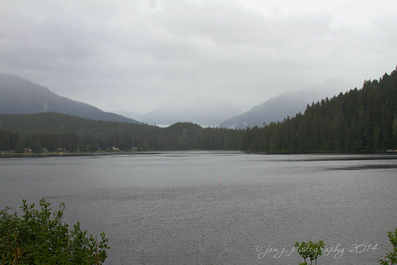 August 24 - Auke Lake, same view as on Thursday...just typical Juneau weather today.