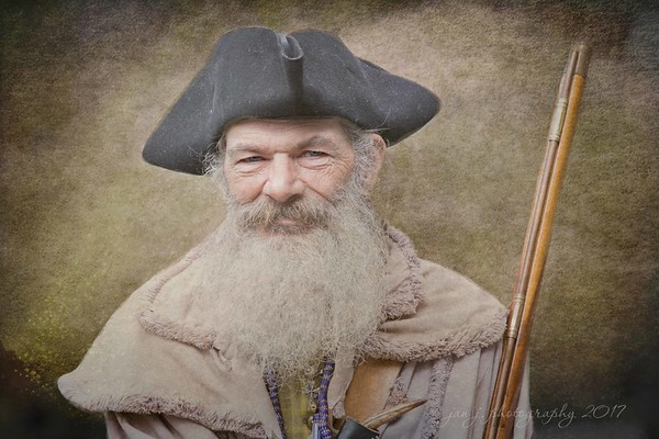"""February 20 - Not taken today but at last week's American Revolution reenactment. I was inspired by Marcie Gonzalez beautiful work to try something new. I'm always thankful to learn new techniques even if the learning process involves a lot of """"muttering""""...  #CY365 - Portrait"""
