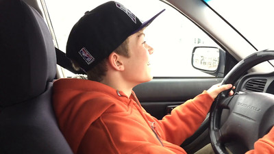 Casey takes the wheel the day he got his learner's permit!