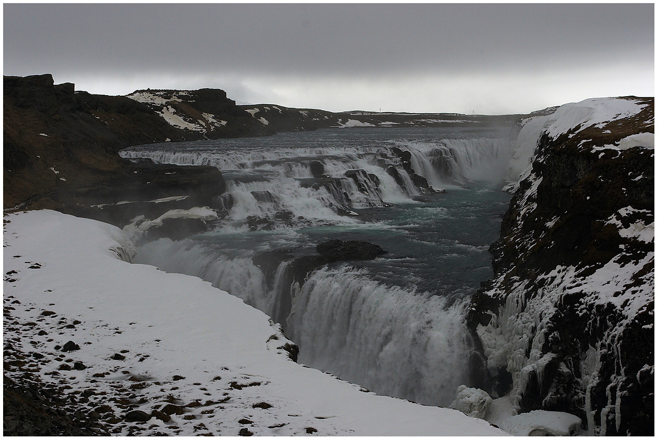 15 April. Gullfoss in winter. Overcast and gloomy, but this is one of only 3 photos today, so it must make do.