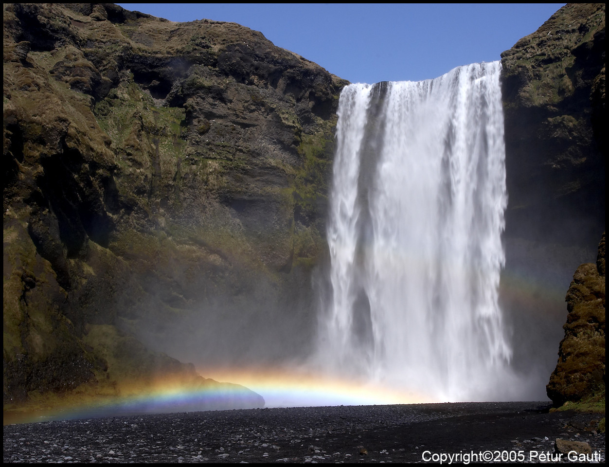 28 April. Skógafoss with rainbow.<br /> I will be away for the weekend. Don't know if I can post till monday. Enjoy the weekend