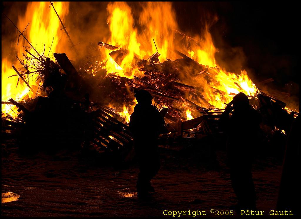 January 1st. At the bonfires by Fossvogur in Reykjavík.