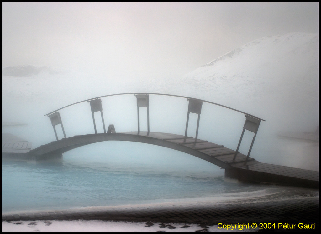 January 2nd<br /> A bridge in the mists at the Blue Lagoon, SW Iceland.<br /> It was a cold day (-9°C) but the waters were quite warm :)