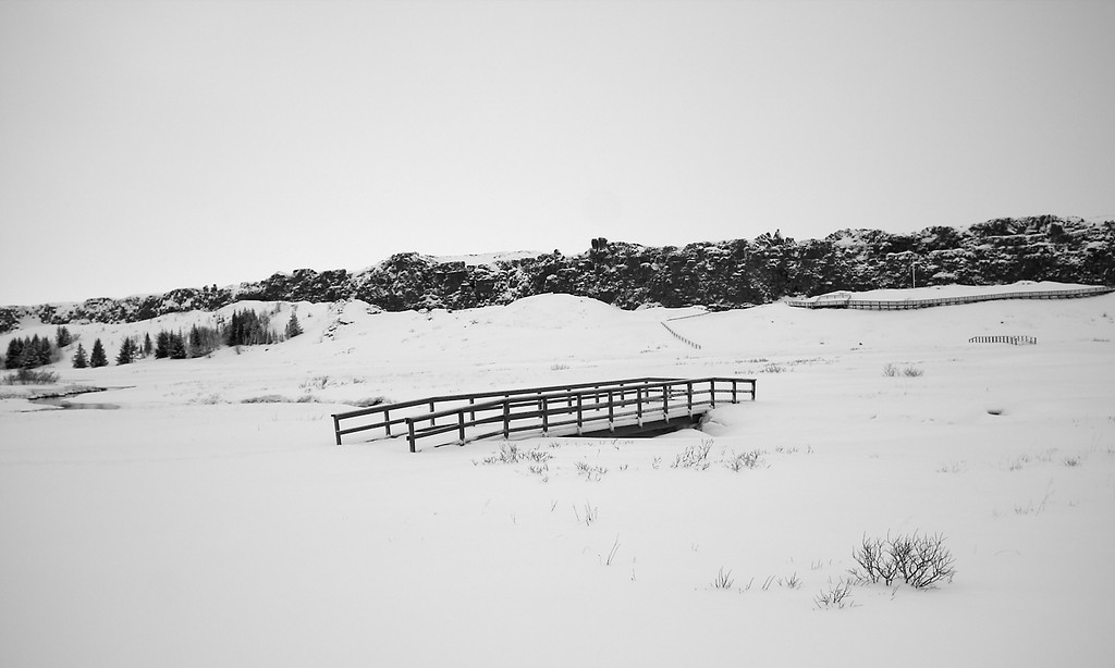 January 17th. Another bridge in snow. This one at Þingvellir, S Iceland