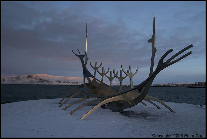 January 11th. Sólfarið (Sun Voyager) stainless steel scupture in Reykjavík, by Jón Gunnar in 1971.