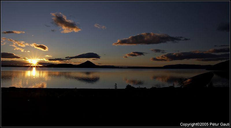 09. July. Sunset at Lake Mývatn.