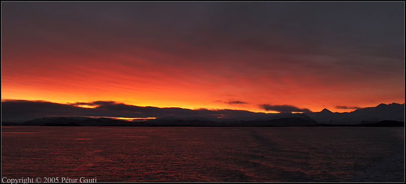 Nov. 12. Sunrise from the ferry Baldur on the way to Flatey island.