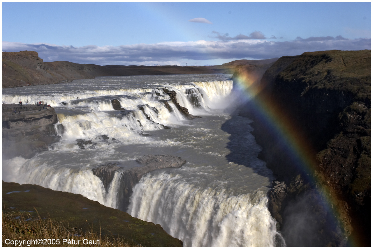 September 14<br /> Gullfoss with a rainbow. Strange shadows from cliffs on right into the spray behind the rainbow