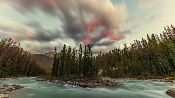Red Clouds at Sunwapta Falls