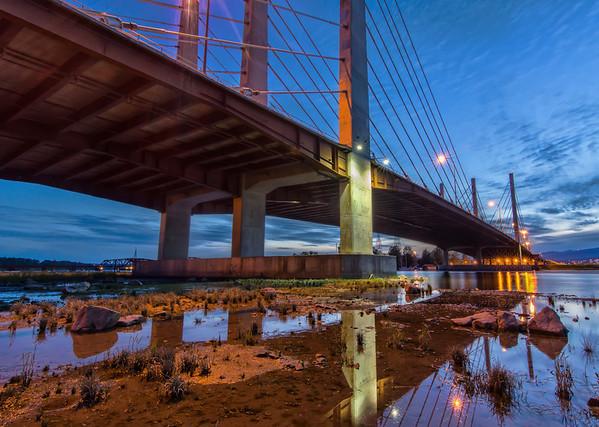 Pitt River Bridge at Night