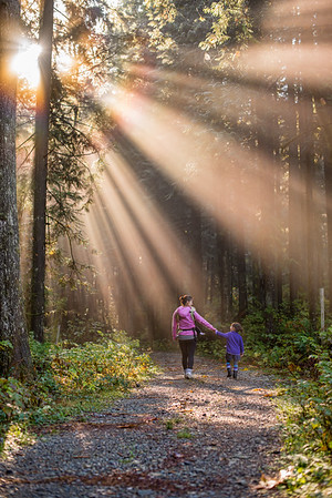 Mother and Daughter Walking in a Forest with Sun Rays