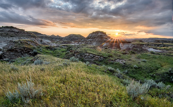 Beautiful sunset over the Alberta badlands