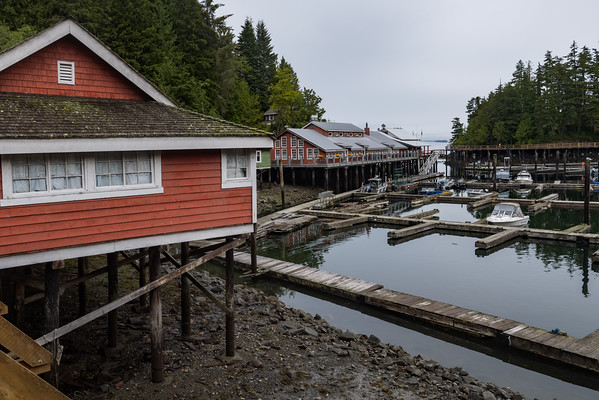 Historic Telegraph Cove buildings and boats on a cloudy day