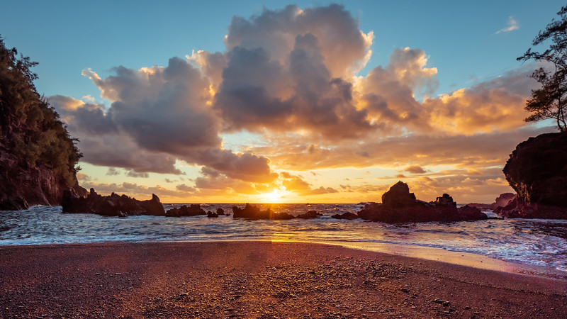 Red Sand Beach Clouds