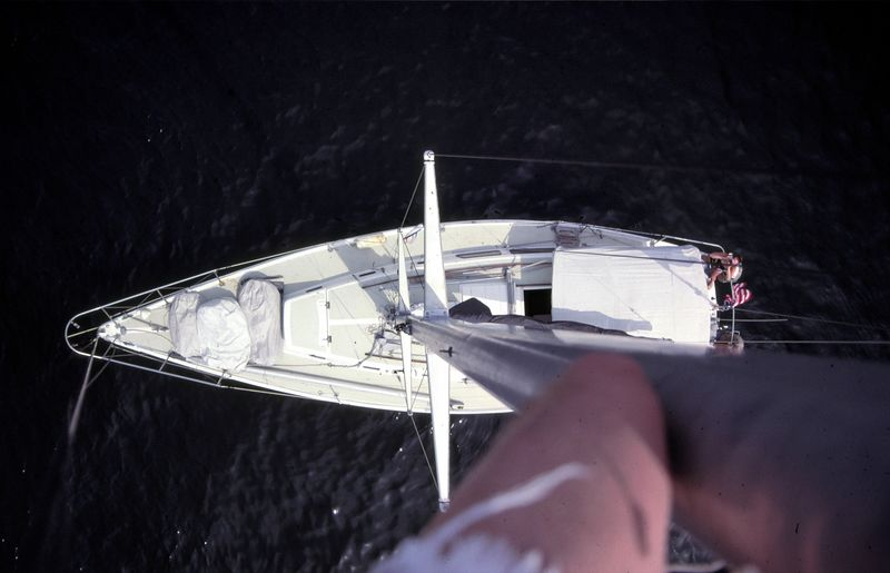 This is not damaged, just an unnecessary apendage.<br /> Taken from the bosun's chair near the top of the mast, About 60 ft high. The boat is about 40 feet long.