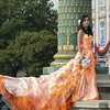 Flaming dress. One hot bride.