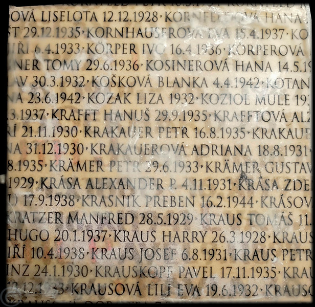 Terezin; names of captive children.  Thousands of children and adults were sent from Terezin to the Auschwitz death camp.