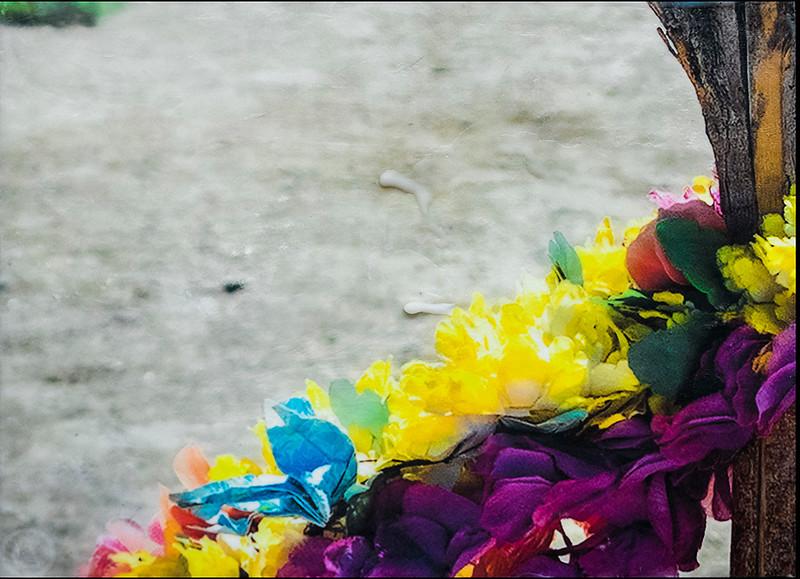 Manzanar; memorial flowers.