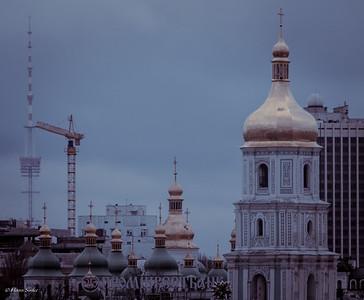 Kiev TV Tower (385 mtr) behind Saint Sophia's Cathedral